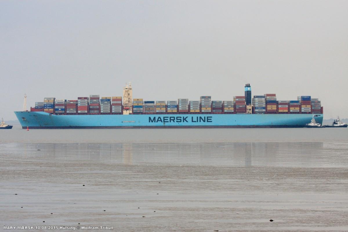 MARY MÆRSK am 10.08.2015 bei Bremerhaven Höhe Hülsing